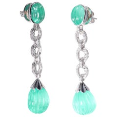 Long Diamond Emerald Earrings