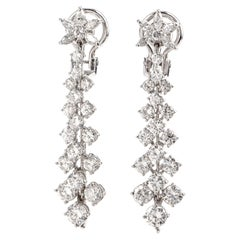 Long Diamond Platinum Floral Dangling Drop Earrings