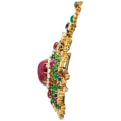 Long Diamond Ruby Sapphire and Emerald Pendant with Necklace