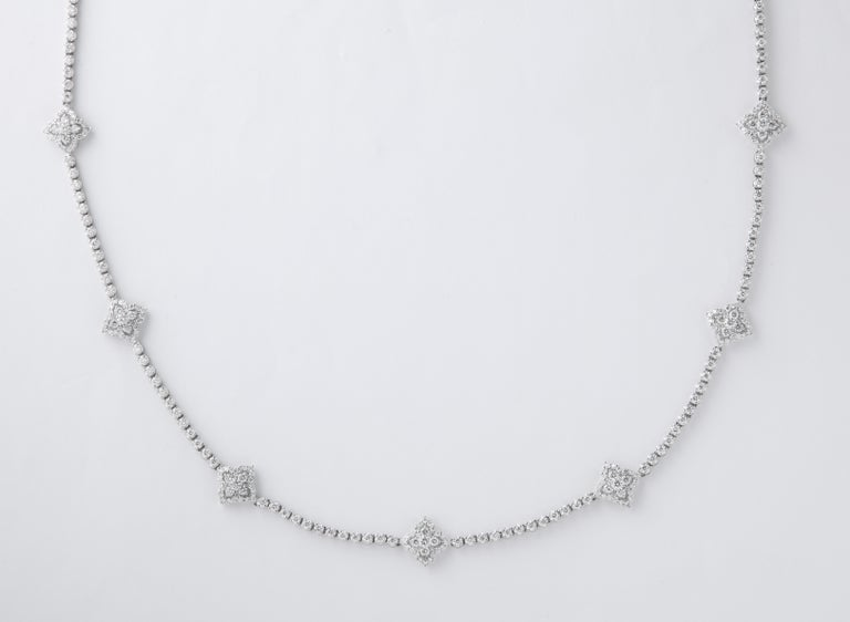 Long Diamond Tennis Necklace with Diamond Motifs For Sale 6