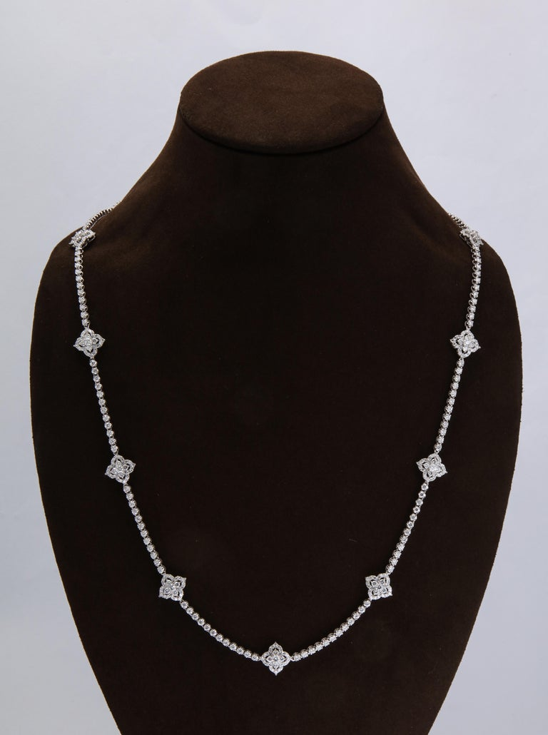 Long Diamond Tennis Necklace with Diamond Motifs In New Condition For Sale In New York, NY