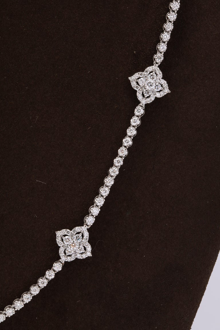Men's Long Diamond Tennis Necklace with Diamond Motifs For Sale