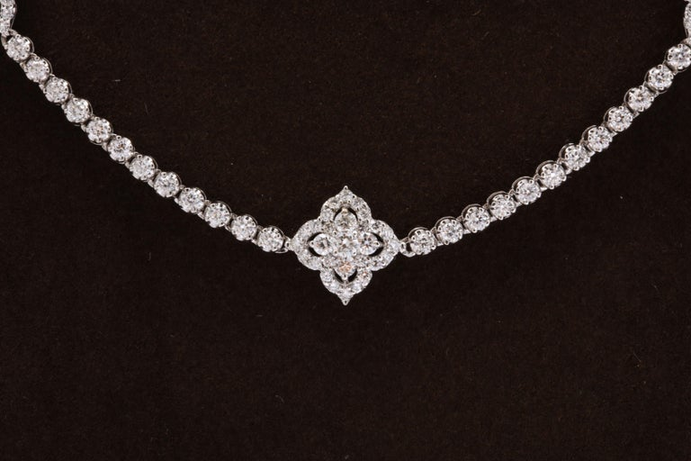 Long Diamond Tennis Necklace with Diamond Motifs For Sale 1