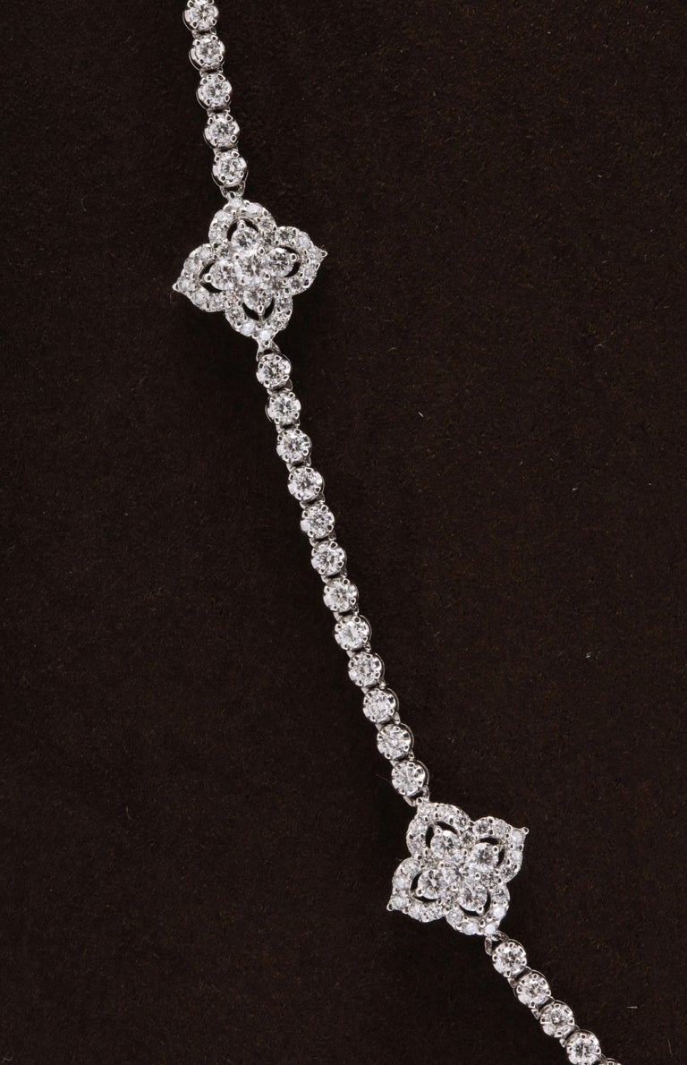 Long Diamond Tennis Necklace with Diamond Motifs For Sale 2