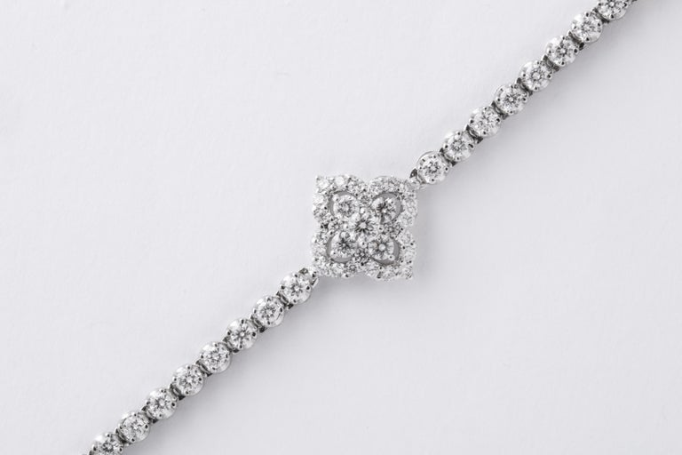 Long Diamond Tennis Necklace with Diamond Motifs For Sale 4