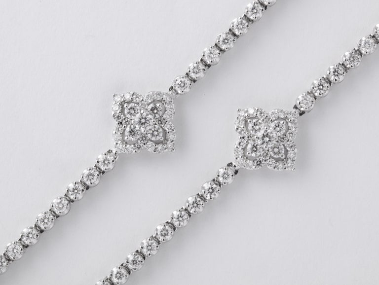 Long Diamond Tennis Necklace with Diamond Motifs For Sale 5
