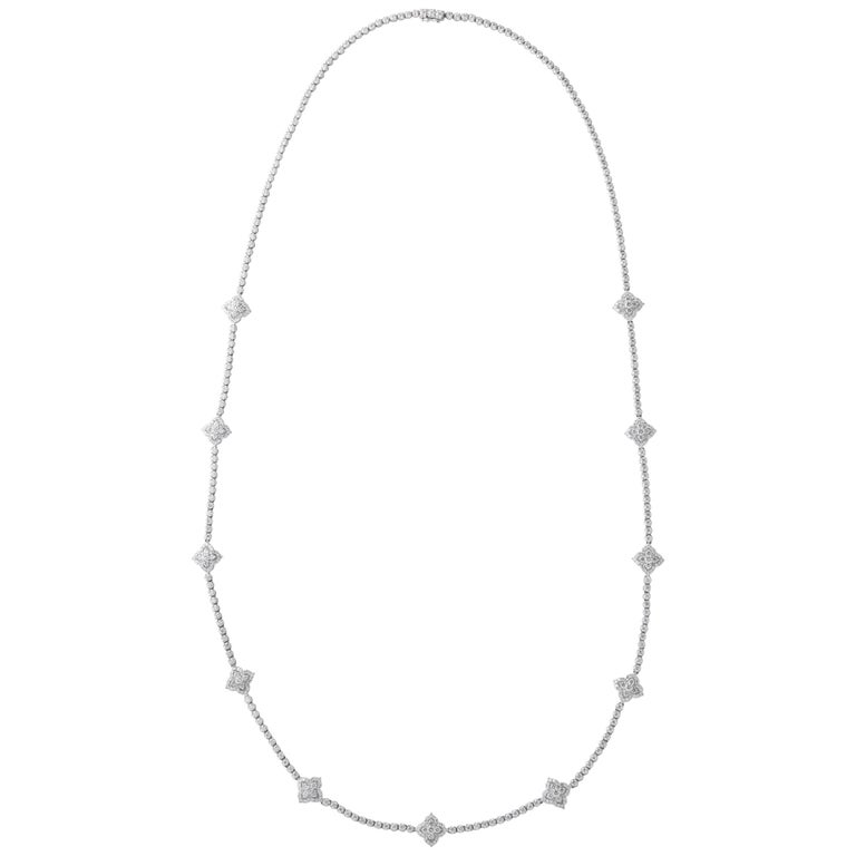 Long Diamond Tennis Necklace with Diamond Motifs For Sale