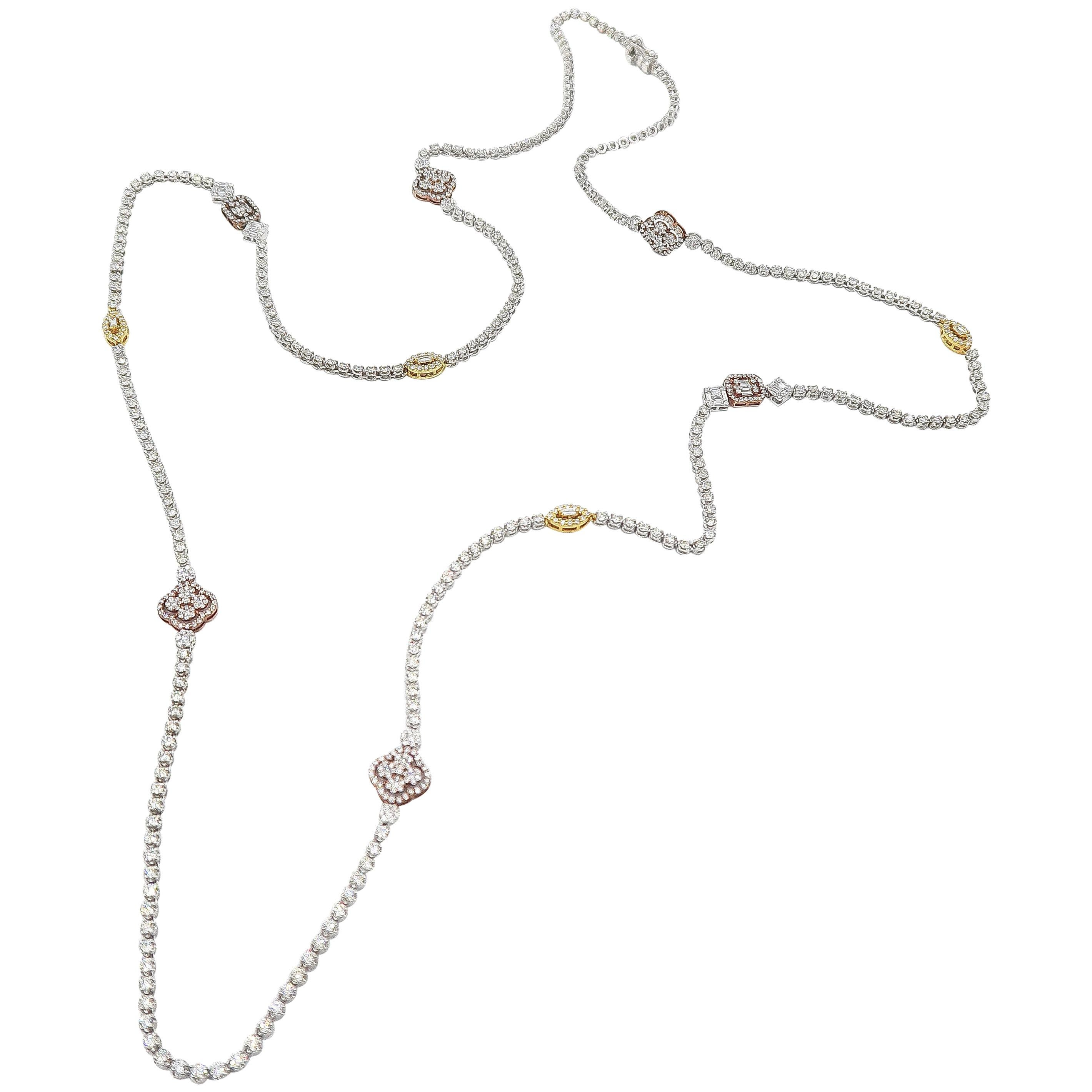 Throw-On Long Thin Diamond Tennis Necklace with Diamond Motifs in 18 Karat Gold
