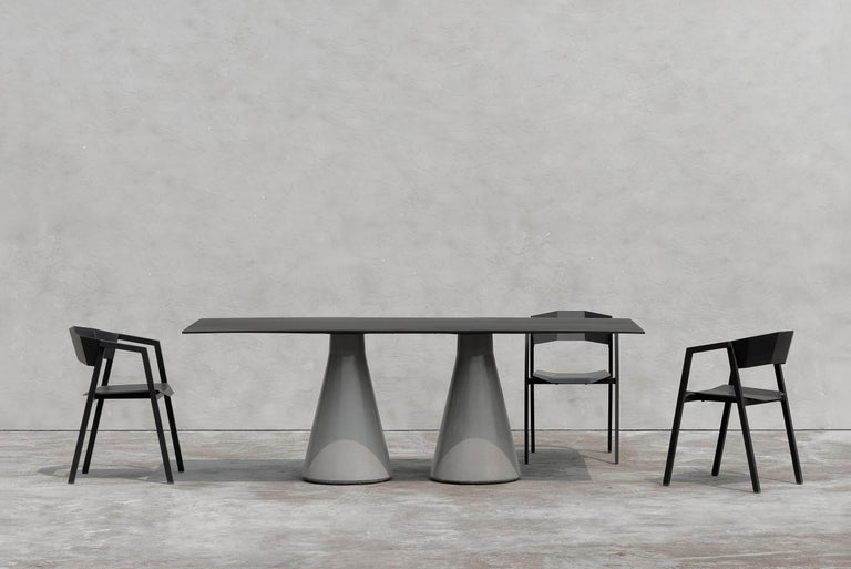 Industrial Long Dining Table 'DING' Made of Concrete and Aluminum For Sale