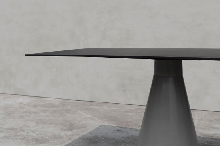 Contemporary Long Dining Table 'DING' Made of Concrete and Aluminum For Sale