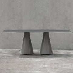 Long Dining Table 'DING' Made of Concrete and Aluminum