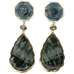 Long Drop 18 Karat Gold Green Sapphire Antique Cinese Enamel Drops Earrings