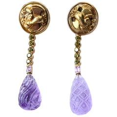 Long Drop Amethyst and Peridot 18 Karat Gold Earrings