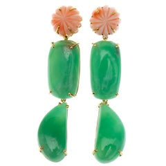 Long Drop Carved Antiques Japanies Coral Crisoprasio 18 Karat Gold Earrings