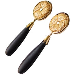 Long Drop Ebony Earrings 18 Karat Gold