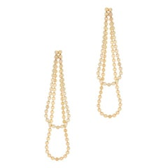 Long Drop Everyday Movement Round Motif Chain Gold-Plated Silver Greek Earrings