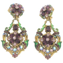 Long earring gold plated purple strass singed Thelma Deutsch US 1980
