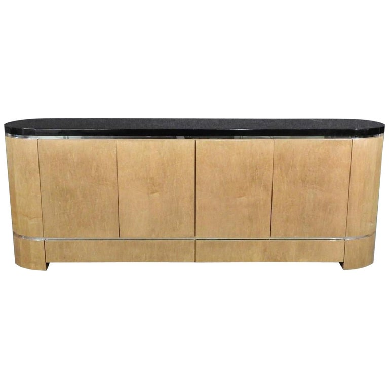 Long Ebonized Top Credenza For Sale
