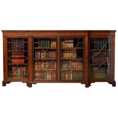 Long Edwardian Mahogany and Inlaid Bookcase