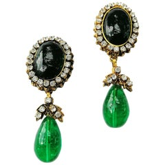 Long emerald poured glass, paste and gilded metal drop earrings, Chanel, 1980s