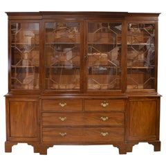 Long English Breakfront Bookcase in Mahogany with Mullioned Glass Panels