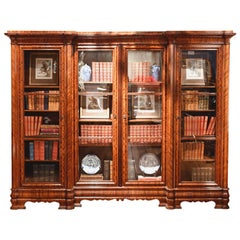 Long English William IV Bookcase in Mahogany with Four Glass Doors, circa 1830