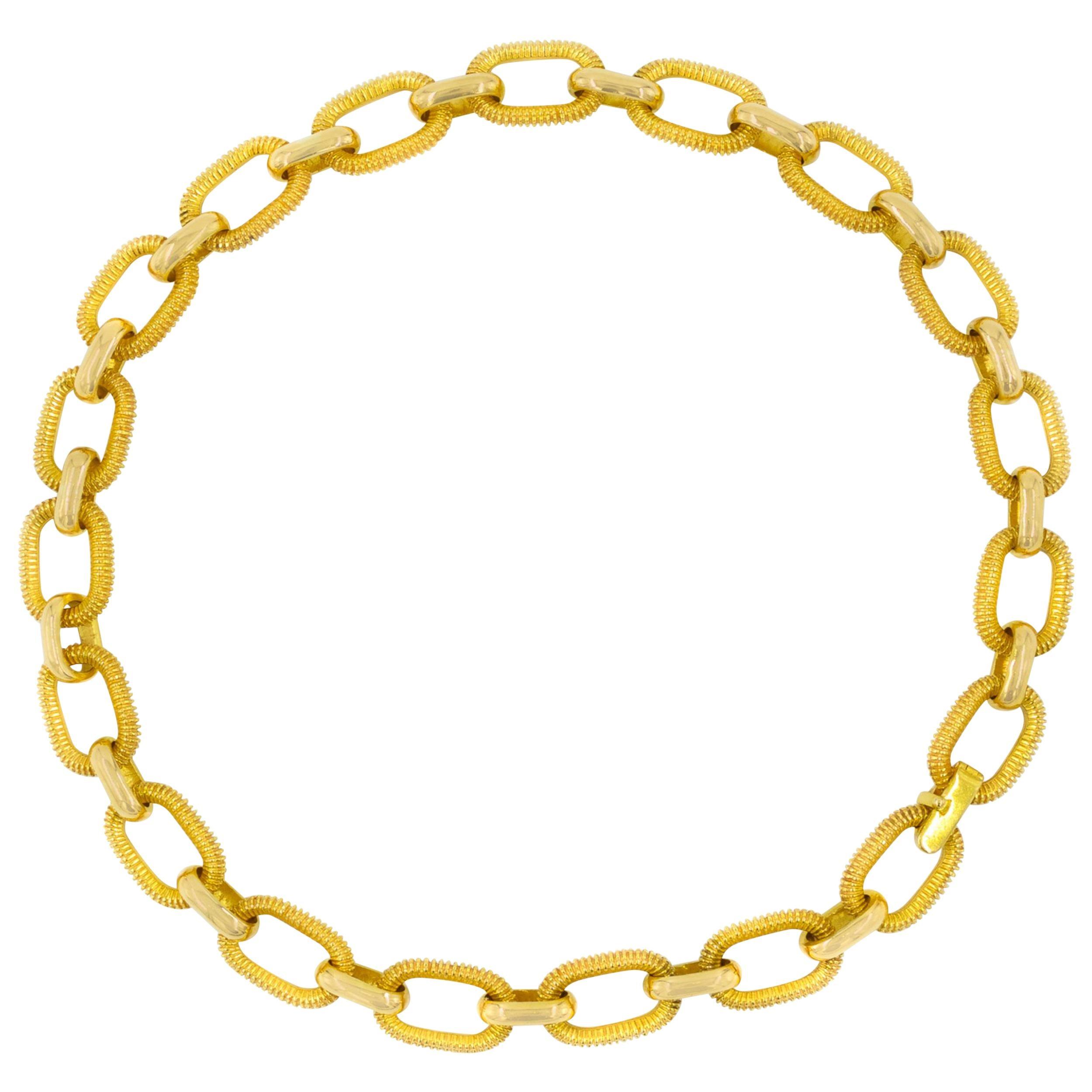 Long Estate 18k Yellow Gold Mid-Century Modern Choker Necklace