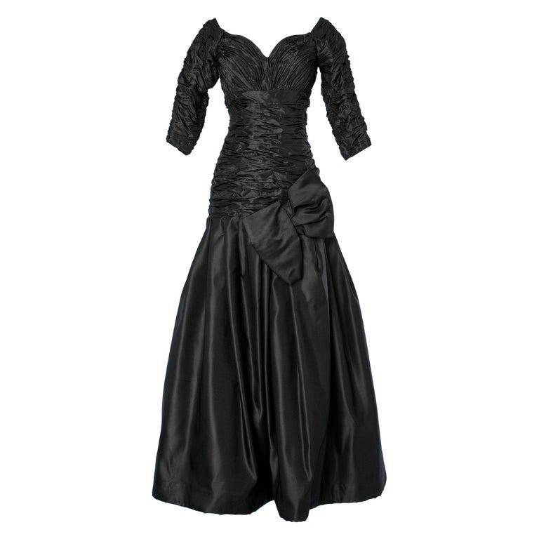 Long evening taffetas dress Scaasi For Sale