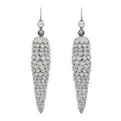 Long Flexible Diamond Cone Pendant Earrings