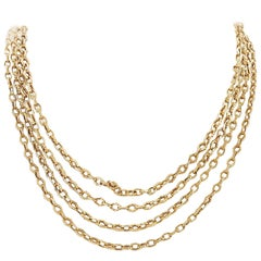 Long French 19th Century Gold Link Necklace