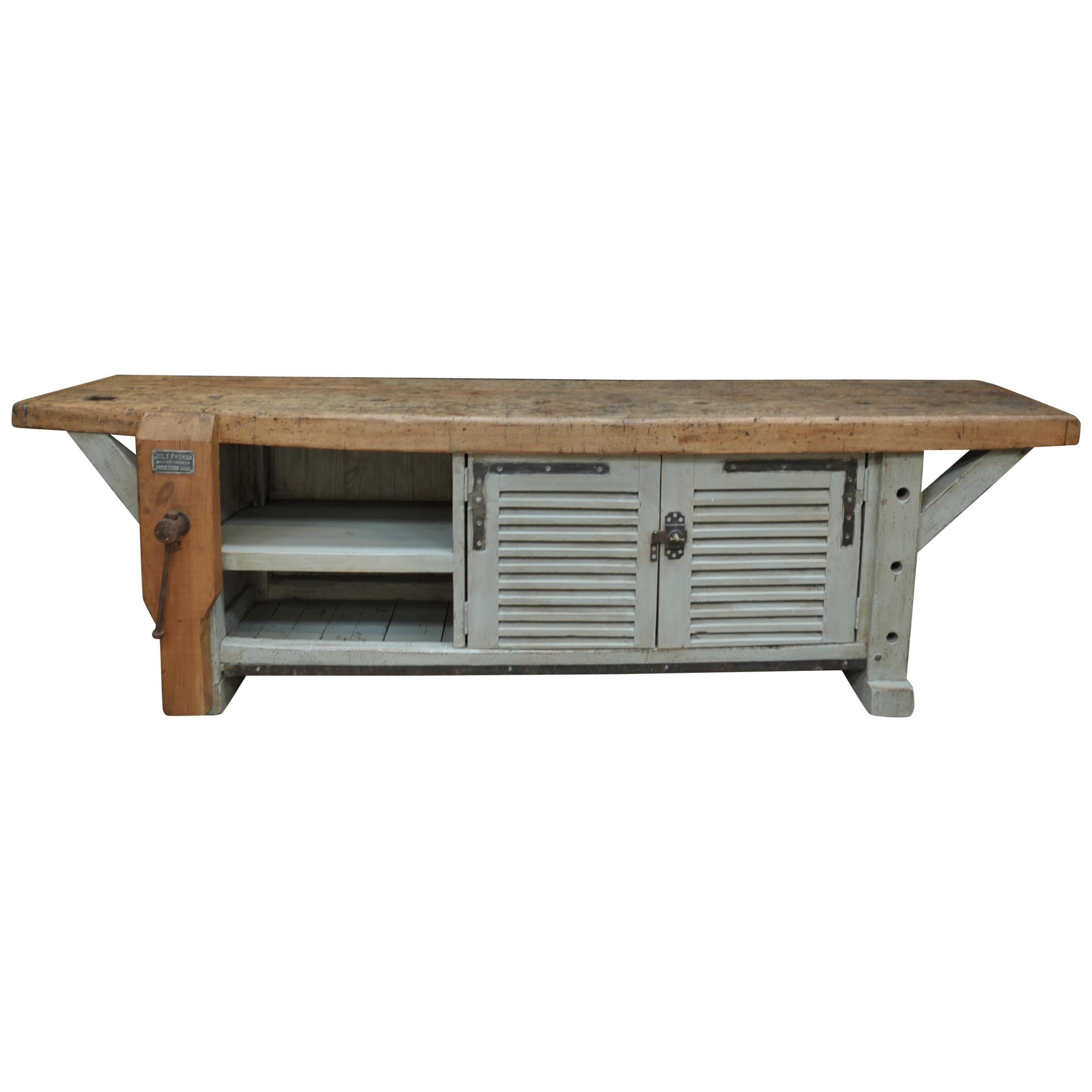 Long French 2 Doors Carpenter work Bench Cabinet, circa 1930