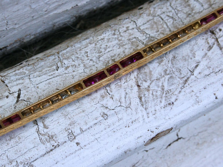 Long French Antique 18 Karat Yellow Gold Diamond and Ruby Bar Pin/ Brooch For Sale 1