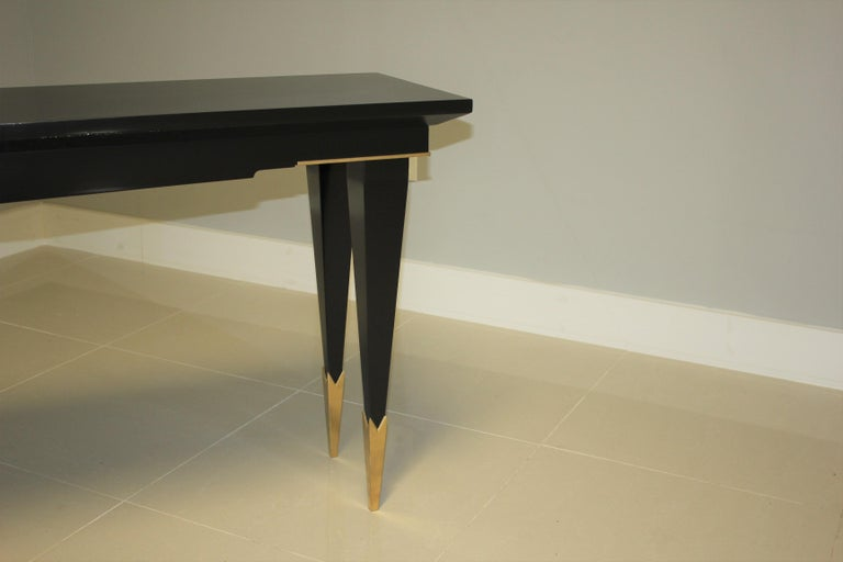 Long French Art Deco Style Ebonized Console Table, circa 1940s For Sale 5