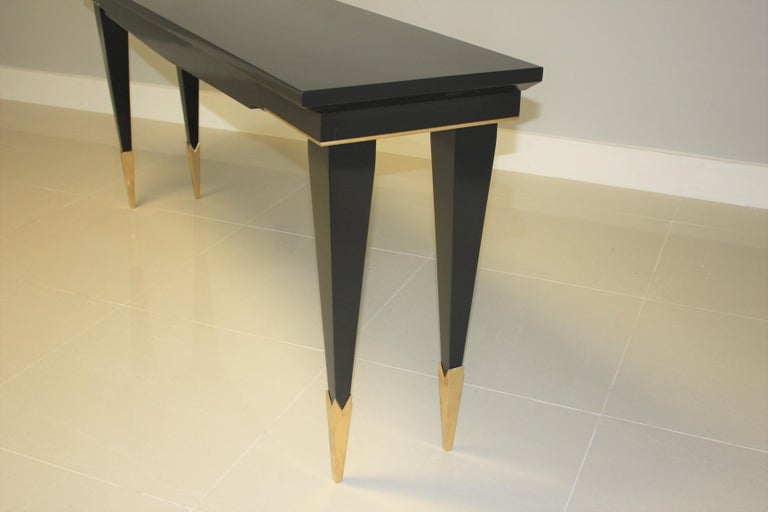 Long French Art Deco Style Ebonized Console Table, circa 1940s For Sale 6