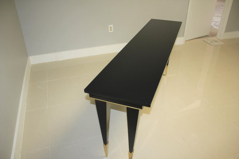 Long French Art Deco Style Ebonized Console Table, circa 1940s For Sale 7