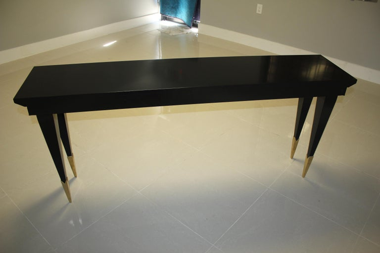Long French Art Deco Style Ebonized Console Table, circa 1940s For Sale 8