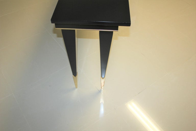 Long French Art Deco Style Ebonized Console Table, circa 1940s For Sale 10
