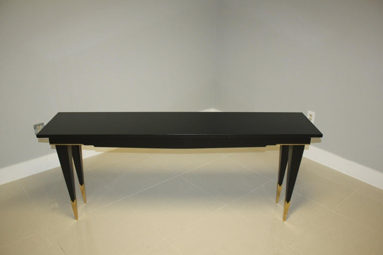 20th Century Long French Art Deco Style Ebonized Console Table, circa 1940s For Sale