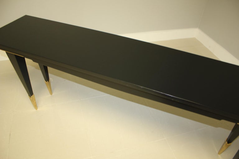 Brass Long French Art Deco Style Ebonized Console Table, circa 1940s For Sale