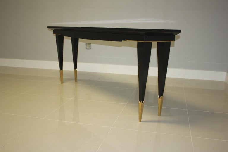 Long French Art Deco Style Ebonized Console Table, circa 1940s For Sale 1