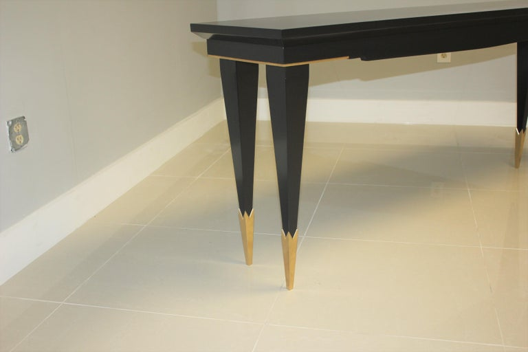 Long French Art Deco Style Ebonized Console Table, circa 1940s For Sale 2