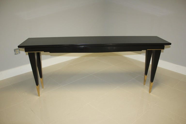 Long French Art Deco Style Ebonized Console Table, circa 1940s For Sale 4