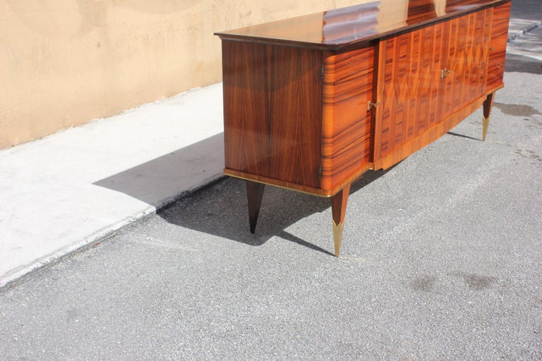 Long French Art Deco Exotic Macassar Ebony Buffet / Credenzas, 1940s For Sale 5