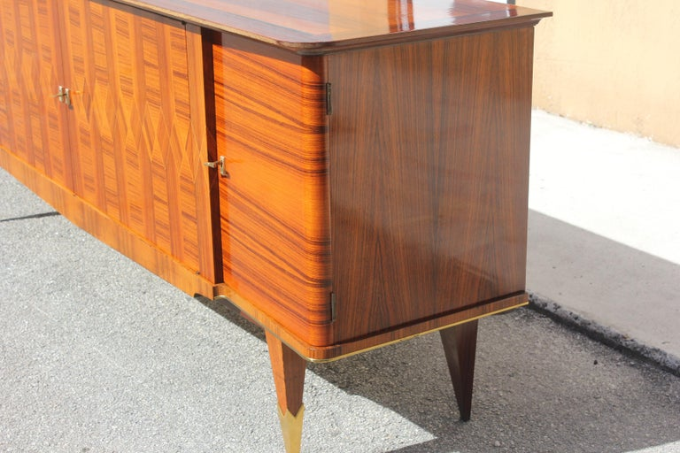 Long French Art Deco Exotic Macassar Ebony Buffet / Credenzas, 1940s For Sale 8