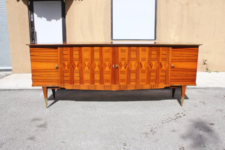 Long French Art Deco Exotic Macassar Ebony Buffet / Credenzas, 1940s For Sale 9