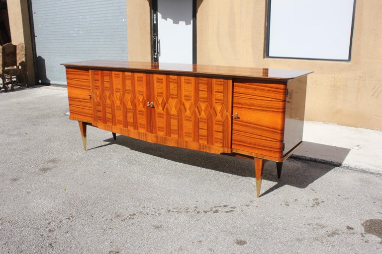 Long French Art Deco Exotic Macassar Ebony Buffet / Credenzas, 1940s For Sale 12