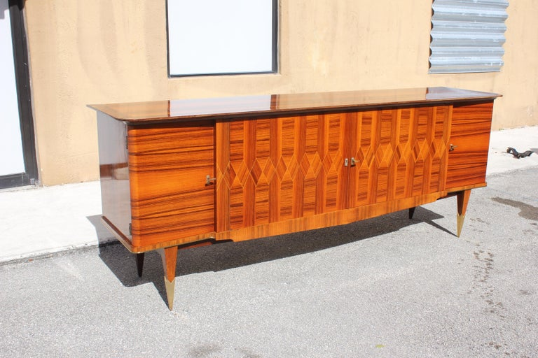 Long French Art Deco Exotic Macassar Ebony Buffet / Credenzas, 1940s In Good Condition For Sale In Hialeah, FL
