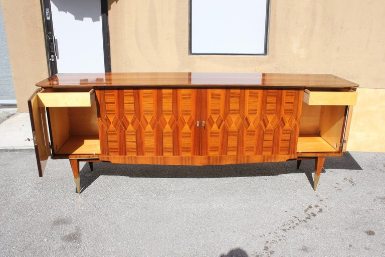 Brass Long French Art Deco Exotic Macassar Ebony Buffet / Credenzas, 1940s For Sale