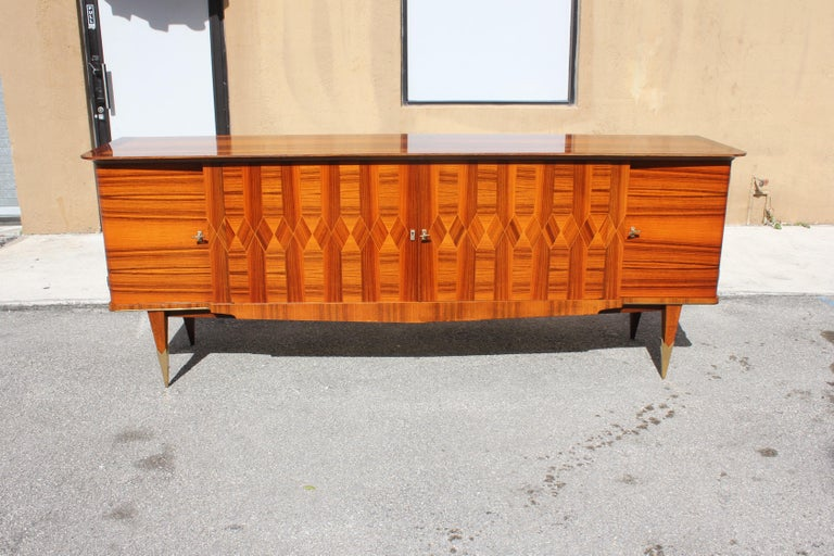 Long French Art Deco Exotic Macassar Ebony Buffet / Credenzas, 1940s For Sale 1