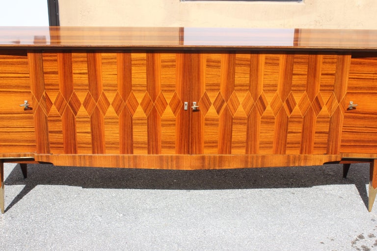 Long French Art Deco Exotic Macassar Ebony Buffet / Credenzas, 1940s For Sale 2